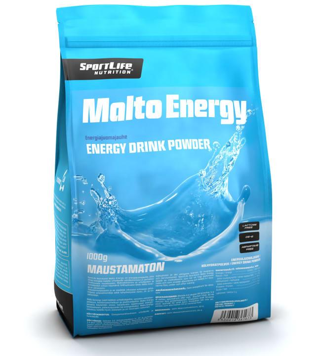 SportLife Nutrition Malto Energy Maustamaton 1000 g energiajuomajauhe