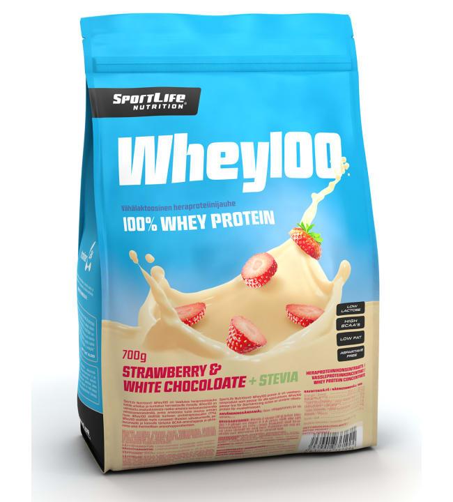 SportLife Nutrition Whey100 Strawberry&White Chocolate+Stevia 700 g heraproteiinijauhe