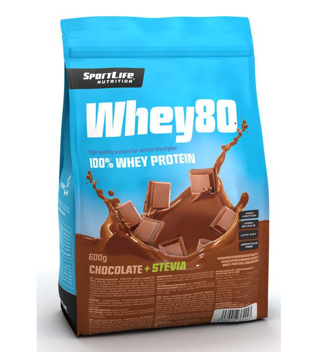 SportLife Nutrition Whey80 Chocolate+Stevia 600 g heraproteiinijauhe