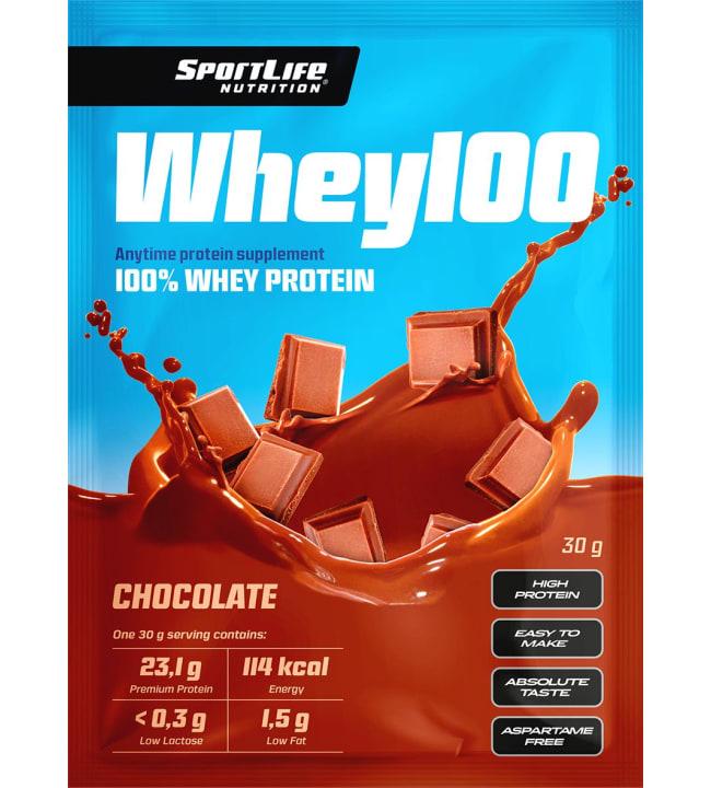 SportLife Nutrition Whey100 Chocolate 30 g heraproteiinijauhe