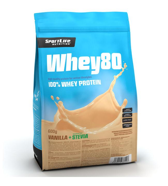 SportLife Nutrition Whey80 Vanilla+Stevia 600 g heraproteiinijauhe
