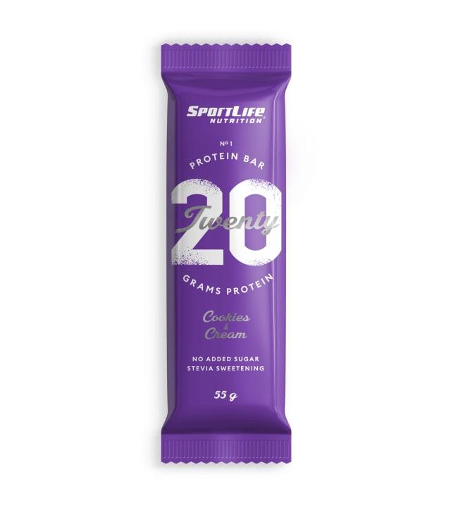 Sportlife Nutrition TWENTY Cookies & Cream 55 g proteiinipatukka