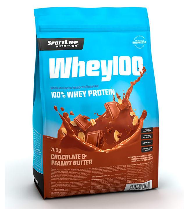 SportLife Nutrition Whey100 Suklaa-Maapähkinä 700 g heraproteiinijauhe