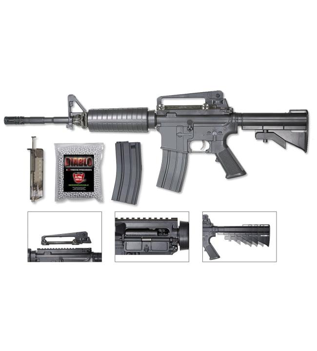 ProAirsoft M4A1 jousiviritteinen airsoft kivääri setti