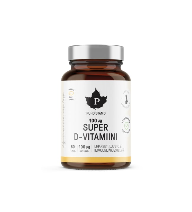 Puhdistamo Super D-vitamiini 60 kaps. ravintolisä