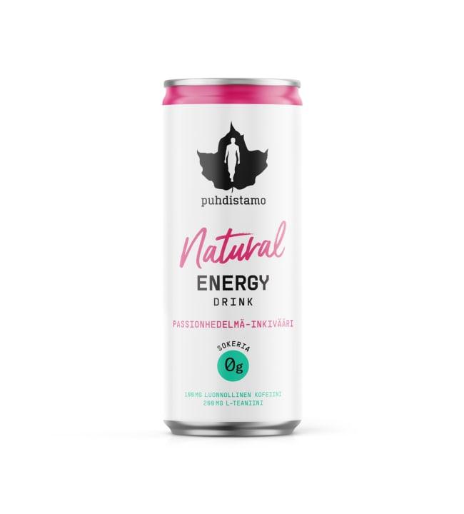 Puhdistamo Passionhedelmä-inkivääri 330 ml Natural energiajuoma