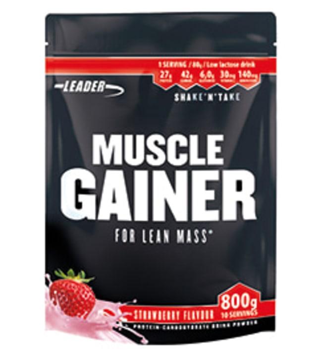 Leader Muscle Gainer Strawberry 800 g proteiini-hiilihydraattijauhe