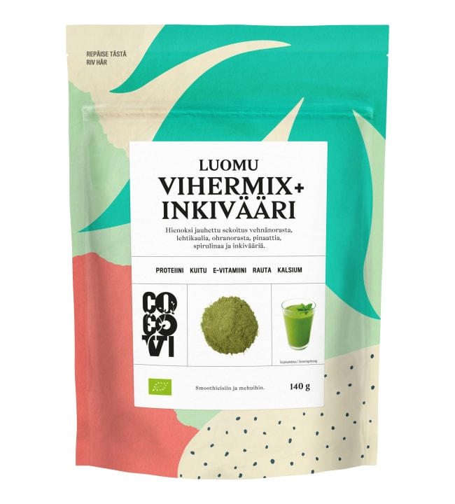 Cocovi Luomu Vihermix+Inkivääri 140 g viherjauheseos