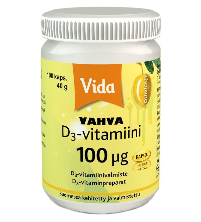 Vida Vahva D3-vitamiini 100 µg 100 kaps. ravintolisä