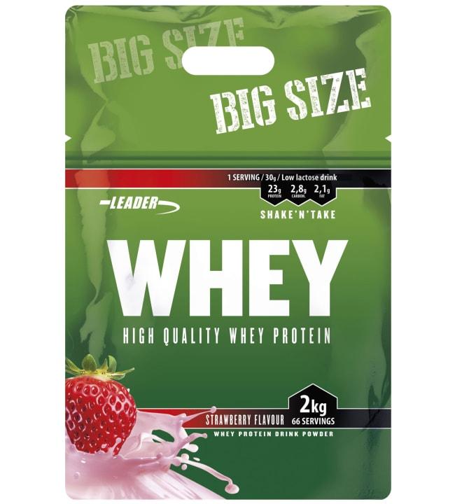 Leader Whey Strawberry 2 kg heraproteiinijauhe