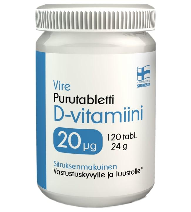 Vire D3-vitamiini Sitrus 20 µg 120 tabl. ravintolisä