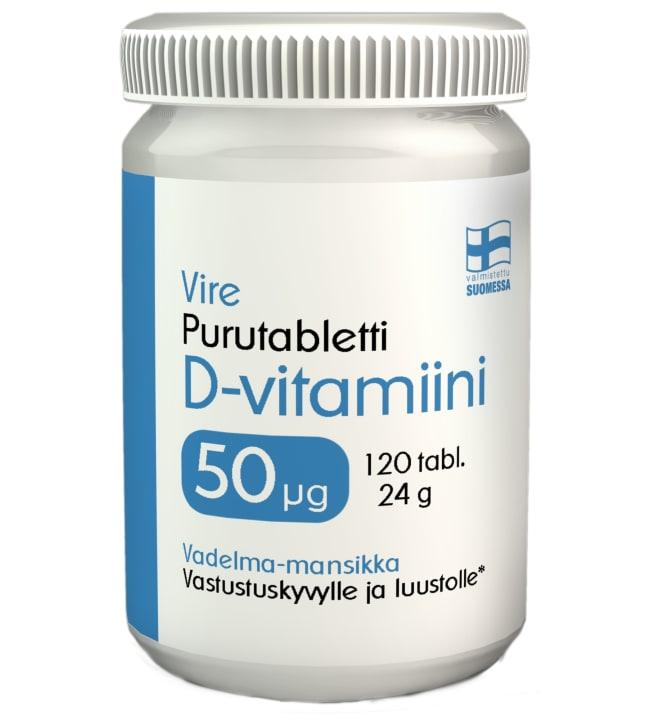 Vire D3-vitamiini 50 µg Mansikka-Vadelma 120 tabl. ravintolisä