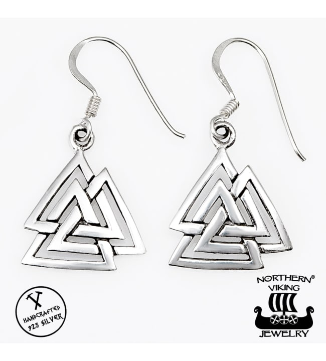Northern Viking Jewelry Valknut hopeakorvakorut