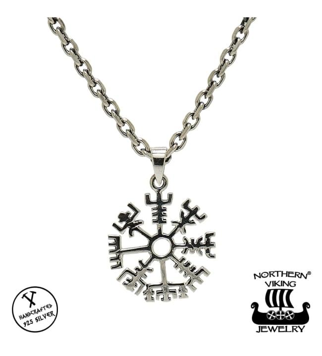 Northern Viking Jewelry Silver Vegvisir hopeariipus