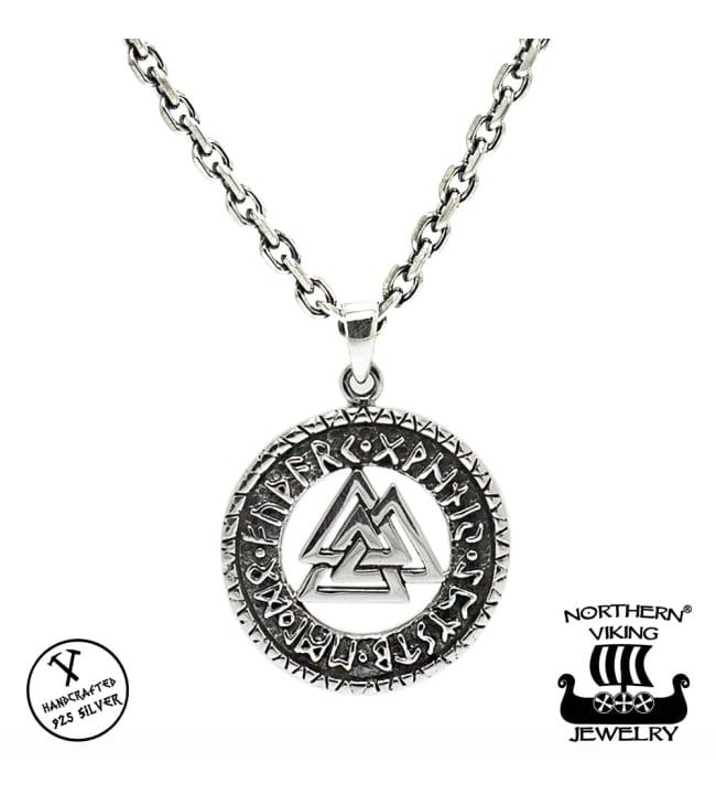 Northern Viking Jewelry Valknut Riimukiekko hopeariipus