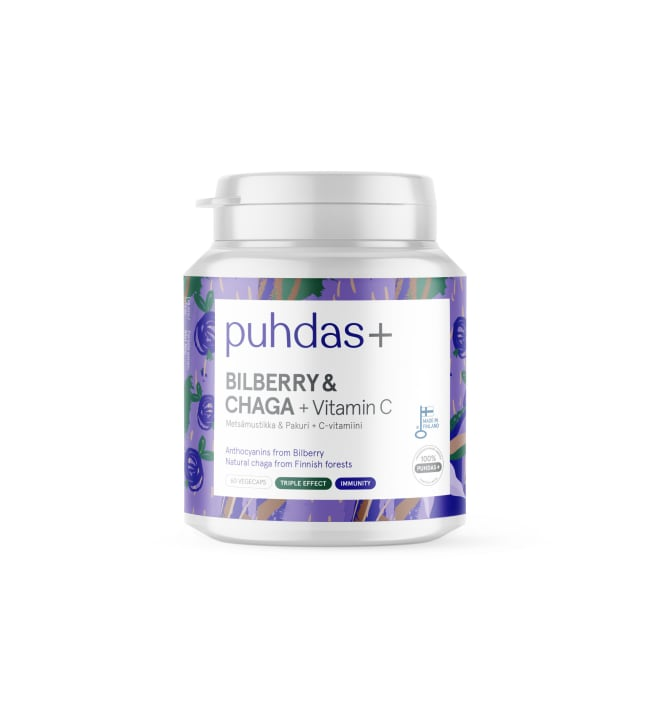 Puhdas+ Bilberry & Chaga + Vitamin C 60kaps. ravintolisä