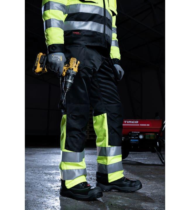Timco Workwear Hi-Vis näkyvä keltainen riipputaskuhousut