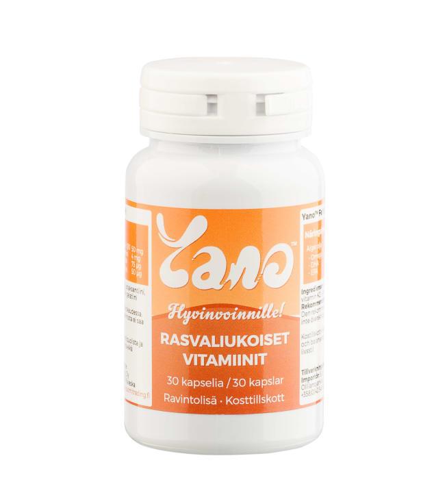 Yano rasvaliukoiset vitamiinit, 30 kaps ravintolisä