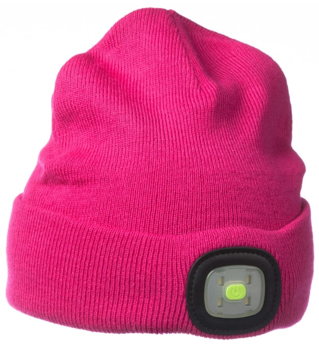 Brightsolar Beanie USB-ladattava LED pipo, pinkki