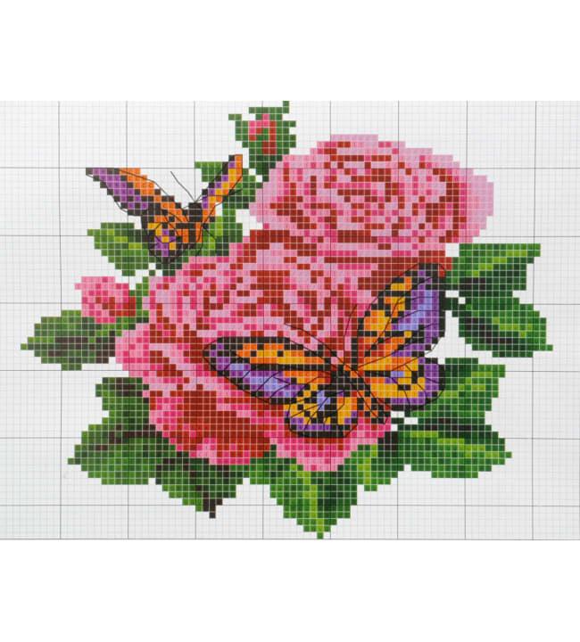 Ruusu ja perhonen kanavatyö