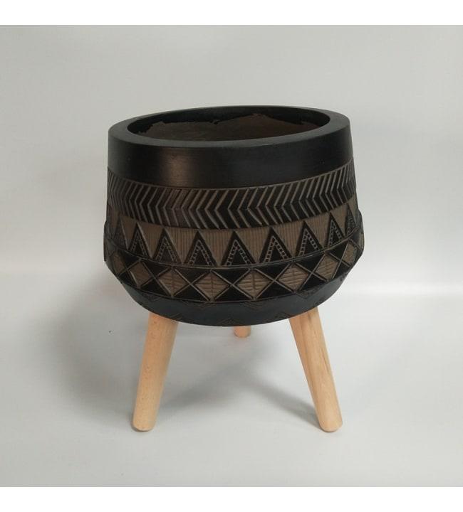 Kairo musta/ruskea 20cm pyöreä ruukku