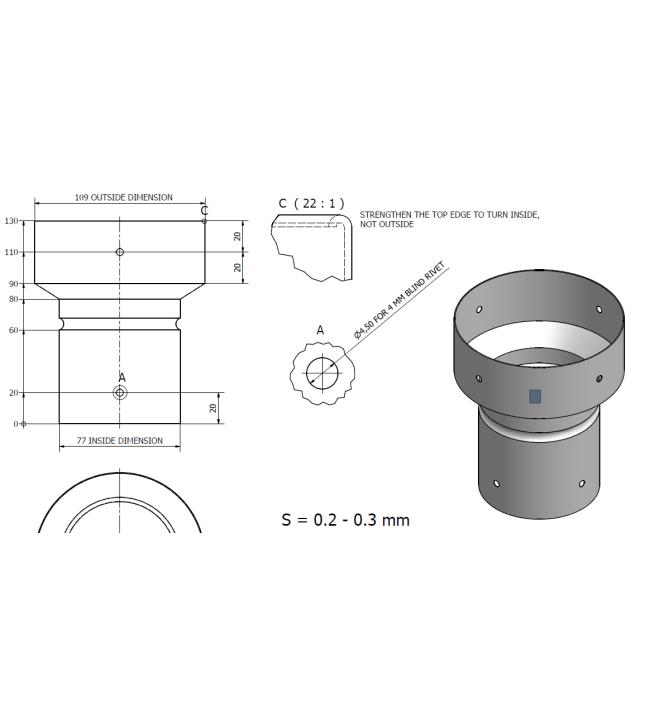 Vedonparantajan 110-75mm sovitin