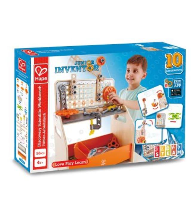 Hape Junior Inventor pikkututkijan työkalupenkki, pöytämalli 58-osaa