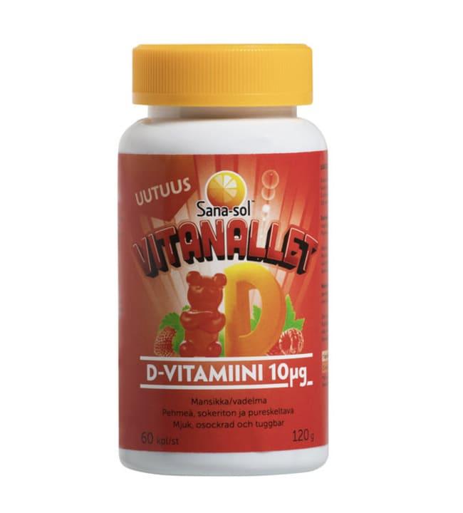 Sana-sol Vitanallet D-vitamiini 10 µg Mansikka/Vadelma 60 kpl ravintolisä