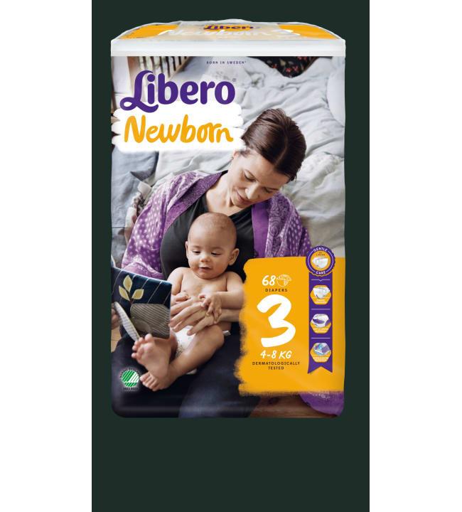 Libero Newborn koko 3, 4-8 kg 68 kpl teippivaippa