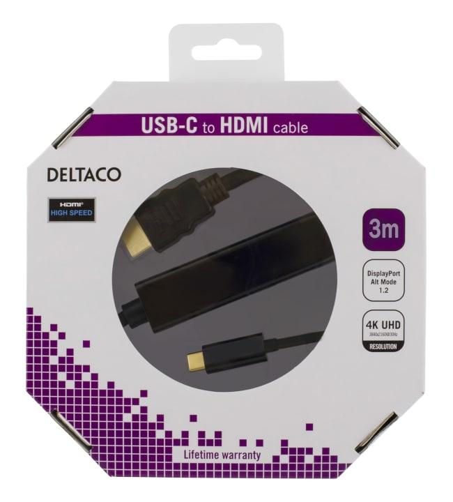 Deltaco USBC-1091-K USB-C - HDMI Ultra HD 3m kaapeli
