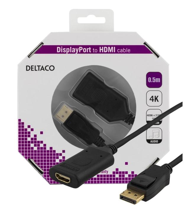 Deltaco DP-HDMI34-K 0,5m aktiivinen DisplayPort - HDMI-kaapeli