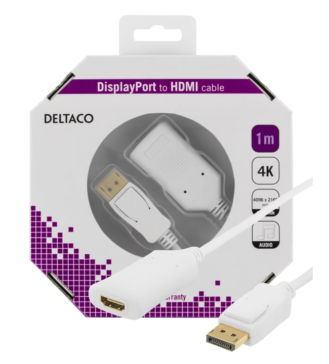 Deltaco DP-HDMI37-K 1m aktiivinen DisplayPort - HDMI-kaapeli