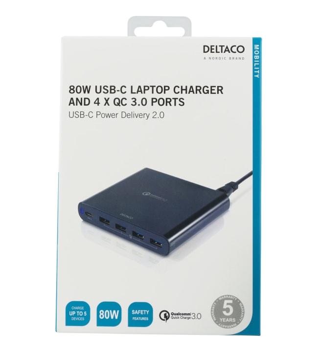 Deltaco SMP-USBC 80W USB-latausasema viidelle laitteelle