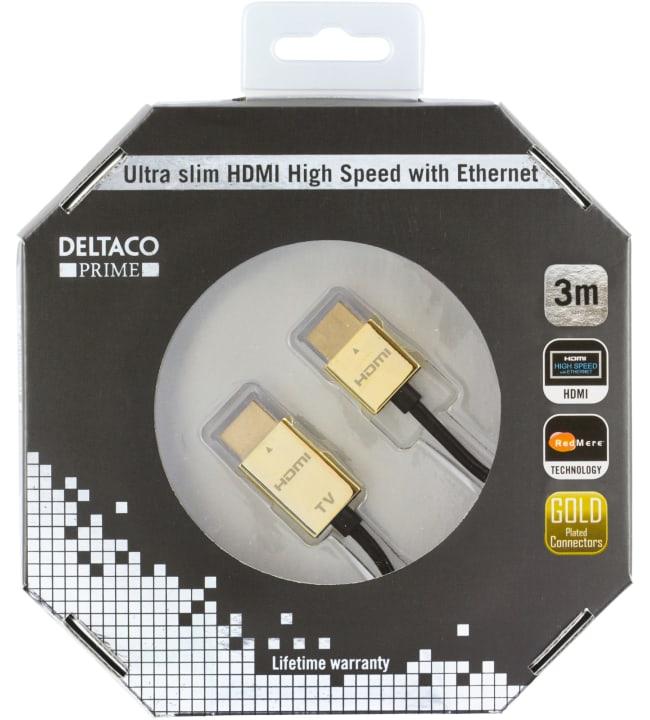 Deltaco Prime HDMI-1043-K ultraohut 3m HDMI-kaapeli