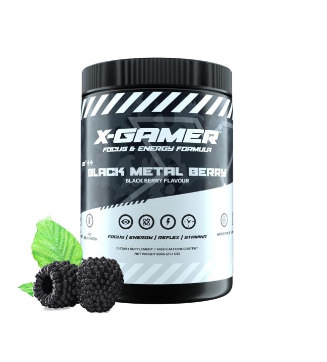 X-GAMER X-Tubz Black Metal Berry 600g energiajuomajauhe