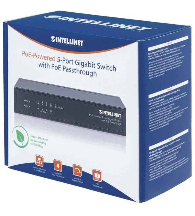 Intellinet 5-portin Gigabit Ethernet PoE+ Passthrough kytkin