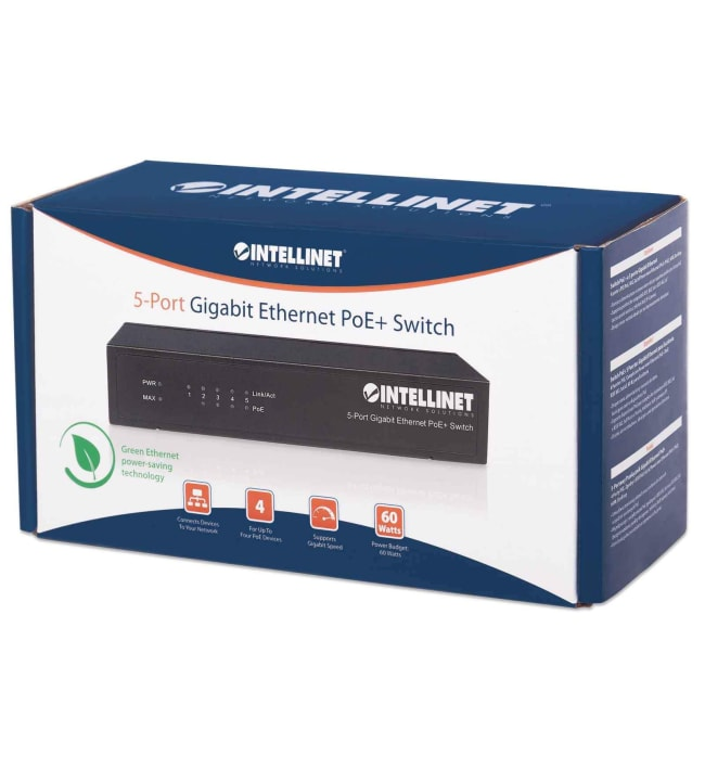 Intellinet 5-portin Gigabit Ethernet PoE+ kytkin