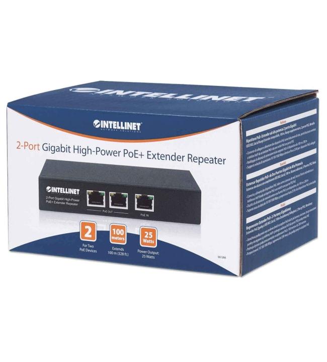 Intellinet Gigabit High-Power PoE+ Extender Repeater kahdelle PoE-laitteelle