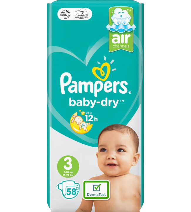 Pampers Baby Dry S3 5-9 kg vaippa 58 kpl/pkt