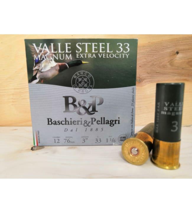 B&P Valle Steel 33g Mag 12/76 25 kpl teräs haulikonpatruuna