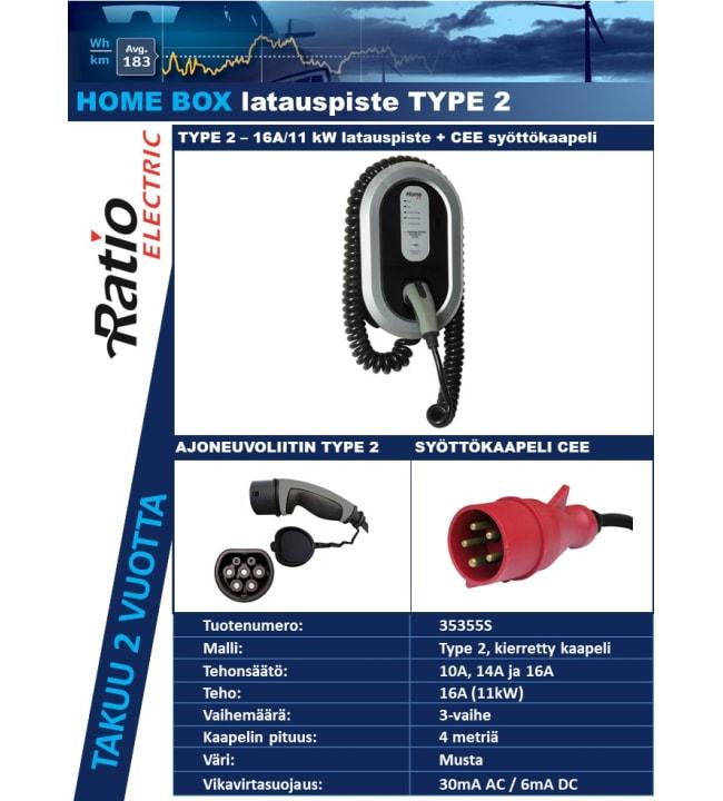 Ratio Electric Type2 16A/400V 4m sähköauton latauspiste kierrekaapelilla