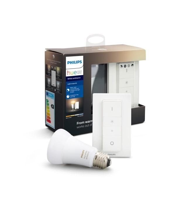 Philips Hue White Ambiance E27 806lm led-älylamppu + langaton himmennin