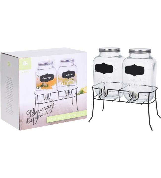 H&S 2 kpl hanallinen juoma-astia telineellä