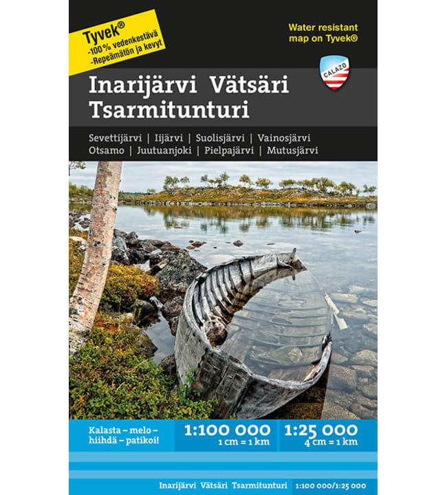 Calazo Inarijärvi Vätsäri Tsarmitunturi vesistökartta 1:100 000+1:25 000