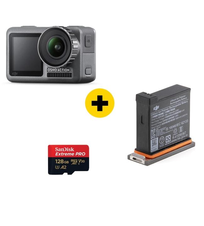 DJI Osmo Action kamera + Lisäakku + Muistikortti