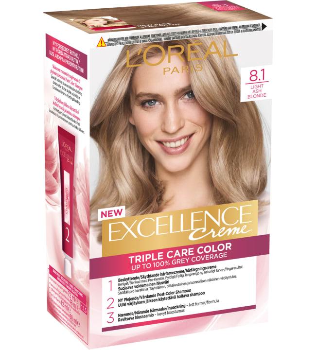 L'Oréal Paris Excellence Creme 8.1 Keskivaalea tuhka kestoväri
