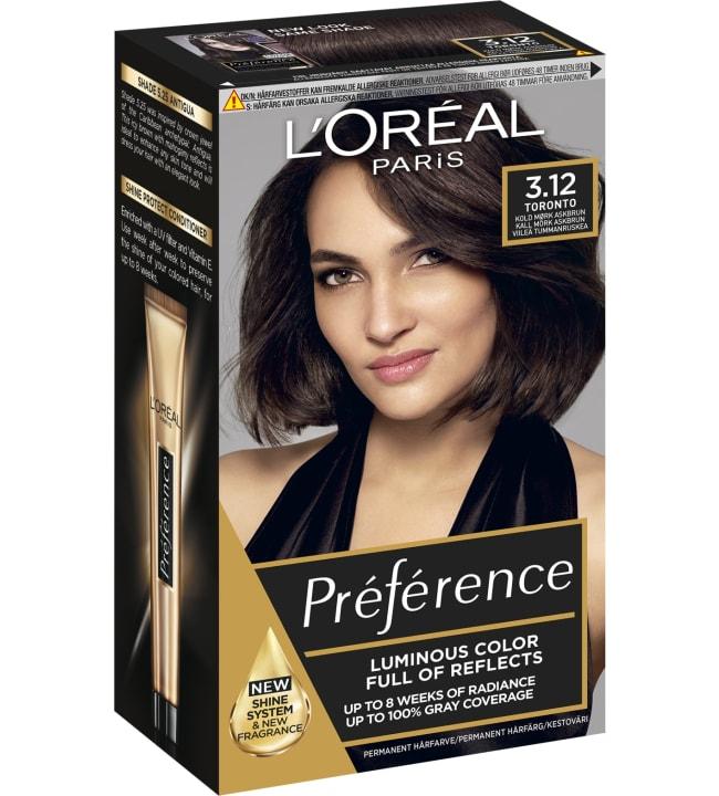 L'Oréal Paris Préférence 3.12 Toronto viileä tummanruskea kestoväri