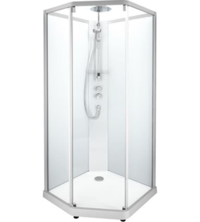 Ido Showerama 10-5, mattahopeat profiilit ja takana kirkas lasi, 1,0m x 1,0m viisikulmainen suihkukaappi