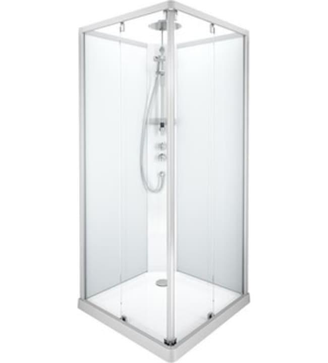 Ido Showerama 10-5, mattahopeat profiilit ja takana kirkas lasi, 0,9m x 0,9m nelikulmainen suihkukaappi