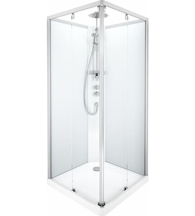 Ido Showerama 10-5, mattahopeat profiilit ja takana huurrelasi, 0,9m x 0,9m nelikulmainen suihkukaappi